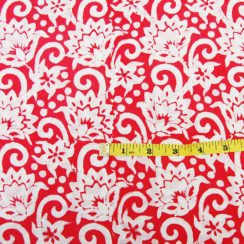 Handmade Floral Print Fabric 5 Meter Indian Hand Block Print Fabric