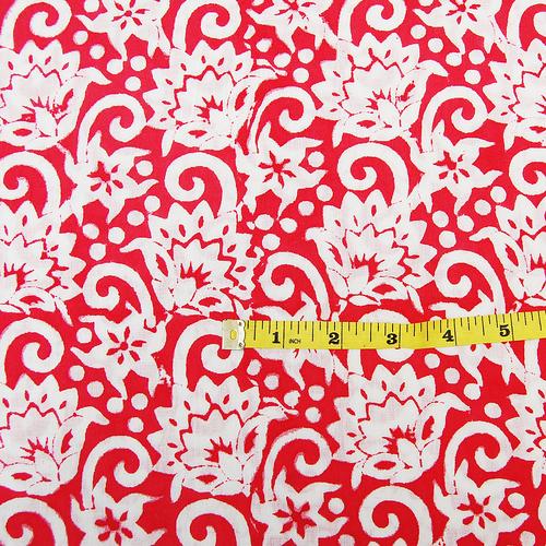 Handmade Floral Print Fabric 5 Meter Indian Hand Block Print Fabric