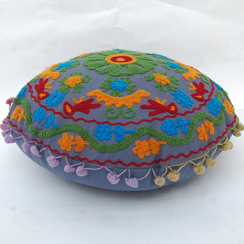 Embroidered Suzani Cushion Cover Round Pillow Case Indian Mandala Design Cushion