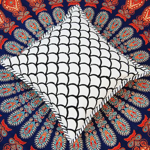 India Hand Block Print Cushion Cover  Cotton Ajrakh Print Cushion