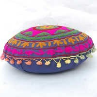 Suzani Round Cushion Cover Vintage Indian Round Pillow Cases 16