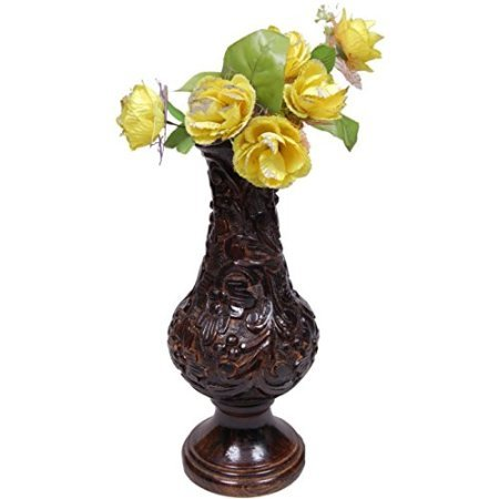 Desi Karigar Beautiful Wooden Antique Hand Carved Flower Vase Size (LxBxH-7x7x18) Inch