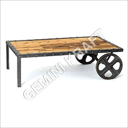 Vintage Industrial Coffee Table with Wheel
