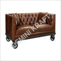 Industrial Wheel Leather Sofa