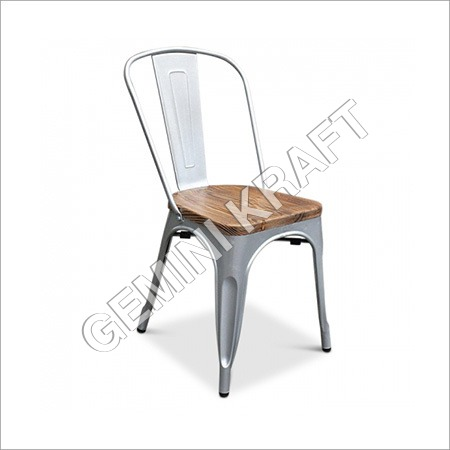 Industrial Tolix Chair With Wood Seat