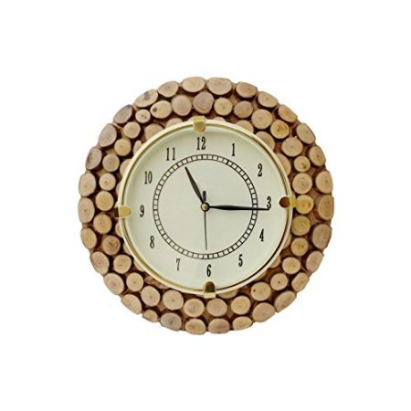 Desi Karigar Fancy Wooden Wall Hanging Clock Watch, Size(LxBxH-11x1x11) Dail Size 7 Inch