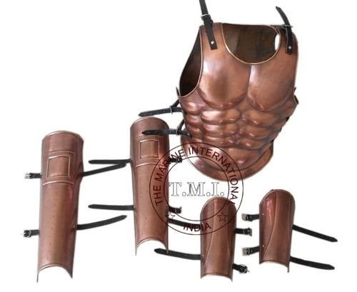 Copper Antique Roman Muscle Armour With Hand & Leg Gaurd Set