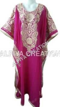 Rose pink golden thread work farasha kaftan jilbab