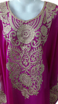 Rose pink golden thread work farasha kaftan jilbab