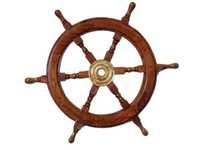 Nauticalmart Deluxe Class Wood and Brass Decorative Ship Wheel 24
