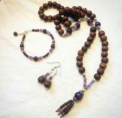 Tulsi Mala, Bracelets,earring with silver and amethyst