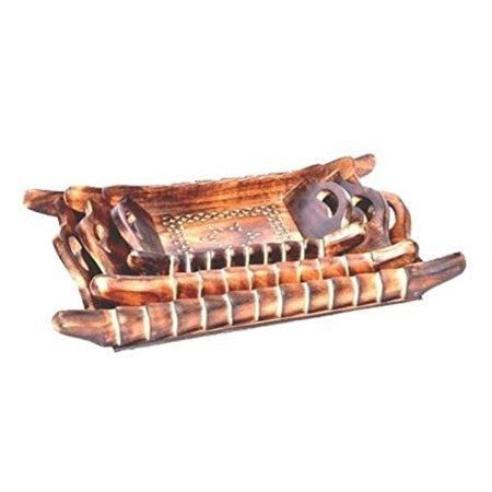 Desi Karigar Handicrafts Designed Brown Tray Wood Carvings Set Of 3f