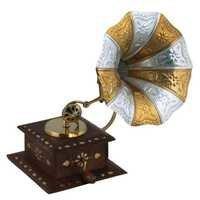 Desi Karigar Handmade Wooden Vintage Dummy Gramophone Player Replica