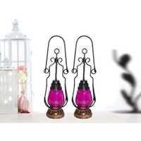 Desi Karigar Pink Wooden, Glass Lantern Size(LxBxH-4.5x4.5x15.25) Inch Pack Of 2