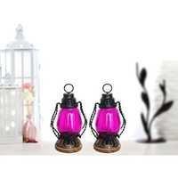 Desi Karigar  Pink Wooden, Glass Lantern Size(LxBxH-4.5x4.5x8.5) Inch Pack Of 2