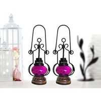 Desi Karigar Pink Wooden, Glass Lantern Size(LxBxH-5.25x5.25x13.5) Inch Pack Of 2