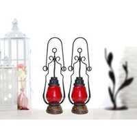 Desi Karigar Red Wooden, Glass Lantern Size(LxBxH-4.5x4.5x15.25) Inch Pack Of 2