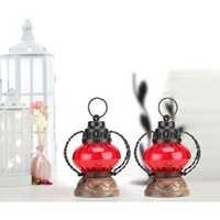 Desi Karigar  Red Wooden, Glass Lantern Size(LxBxH-5X5X7) Inch Pack Of 2