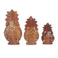 Desi Karigar Set Of 3 Wooden Pineapple Shaped Key Hanger Panel With Brass Work