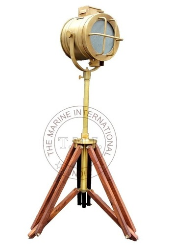 Brown Antique Royal Marine Spotlight With Tripod Stand