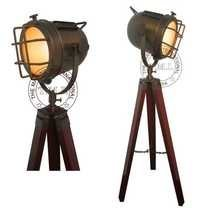 Antique Spotlight With Wooden Tripod Stand