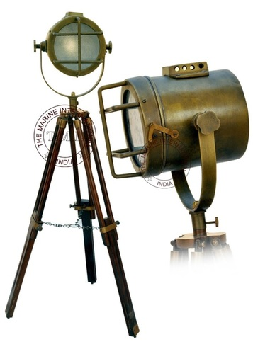 Brown Antique Vintage Look Searchlight With Wooden Stand