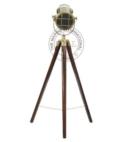 Brown Antique Vintage Look Spotlight With Wooden Stand