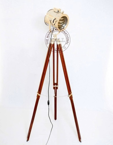 Nickle Plated Floor Spotlight With Wooden Tripod Stand