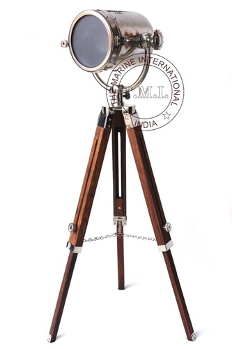 Chrome Finish Nautical Floor Standing Spotlight With Tripod Stand