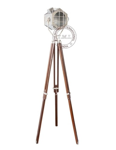 Designer Hexagon Look Chrome Floor Lamp With Wooden Tripod Stand