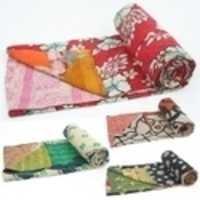 Heavy Vintage Kantha Cotton Sari Quilt Gudri
