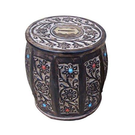 Desi Karigar Wooden Antique type of Brown Barrel Coin Box