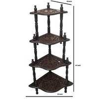 Desi Karigar Wooden Big Hand Carving Work With 4 Shelves End Table/Side Corner