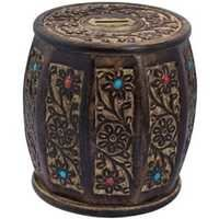Desi Karigar Wooden Drum /cylinder Shaped Money Bank