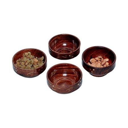 Desi Karigar Wooden Handmade With Brass Work Bowl Size-lxbxh-4x4x2 inch Set Of 4