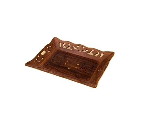 Desi Karigar Wooden Handicrafts Designed Brown Tray Carving Size(lxb-13x9) Inch
