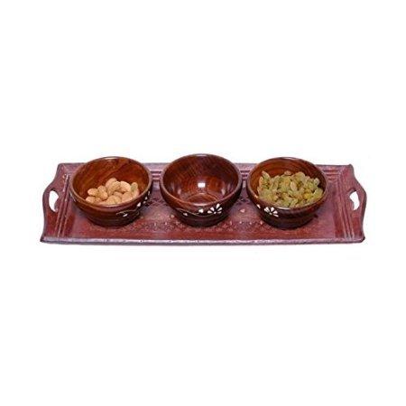 Desi Karigar Wooden Handmade 3 Dry Fruit bowl & 1 Serving Tray
