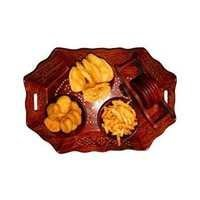 Desi Karigar Wooden Holi Special Snacks Dry Fruit Hexagonal Tray With Coaster Set