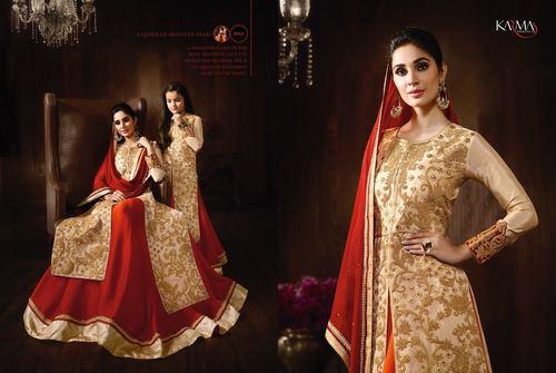 Shop Raw Silk Lehanga Style Suit Online