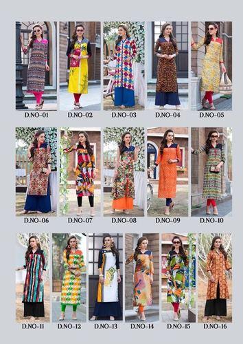 ladies flavour new designer rayon print kurtis