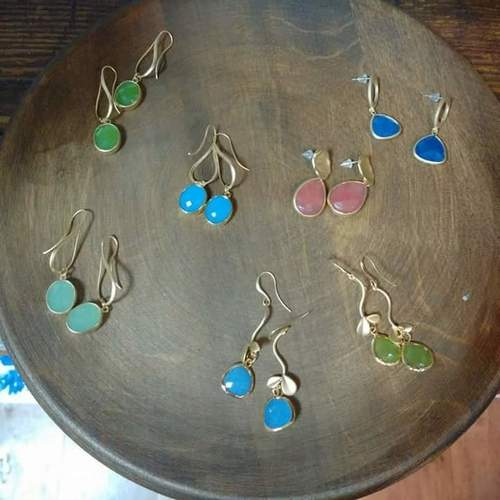 Gems Stones Earrings With Silver