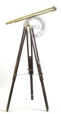 Nautical Brass Harbor Master Telescope with Wooden Tripod  Stand