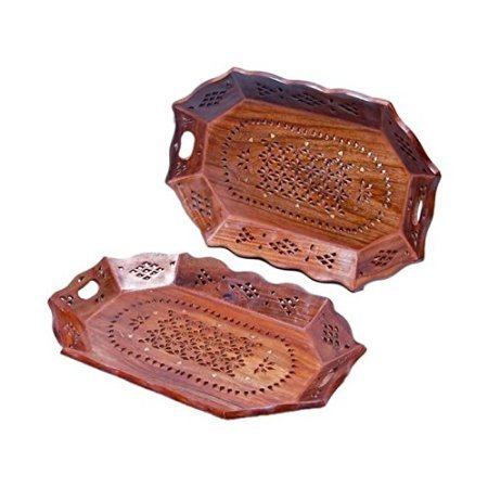 Desi Karigar Wooden Fancy Design Serving Tray Size-lxbxh-14x10x1 Inch Set Of 2