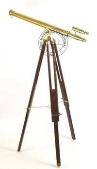 Nautical Brass Griffith Astro Double Barrel Telescope W/Wooden Stand