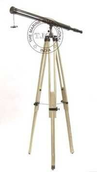 Black Antique Harbor Master Telescope With Wooden Tripod Stand