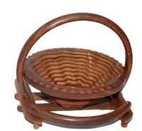 Desi Karigar Wooden Fruit Basket + Free 3 Tea Spoons ( Brown )