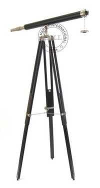 Leather Sheathed Chrome Harbor Master Telescope W/Black Stand