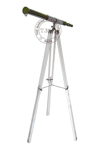 White Leather Sheathed Chrome Harbor Master Telescope With White Stand