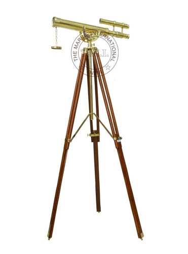 Brass Griffith Astro Double Barrel Telescope On Stand