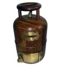 Desi Karigar Wooden Money Bank Cylinder Shape ( Brown, Height - 9 inch Base Size - 5 inch )